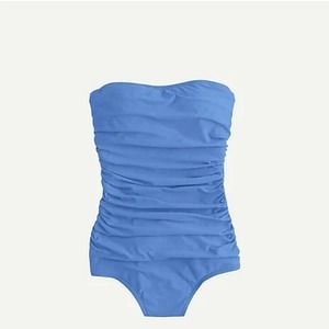 J Crew Ruched Bandeau One Piece Swimsuit Blue